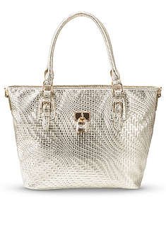torba-shopper-metaliczna-w-pleciony-wzor-bpc bonprix collection