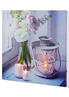 """Tablou cu led-uri """"Lumânare şi flori""""-bpc living"""